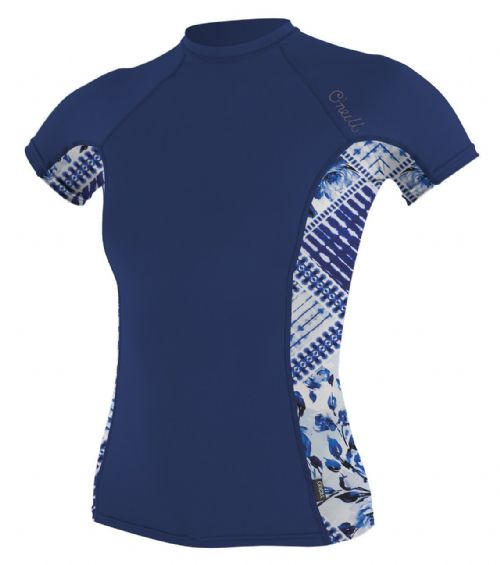 O'NEILL WOMENS RASH TOP.SIDE PRINT UPF50 SUN PROTECTION GUARD T SHIRT 8S 58S EN2